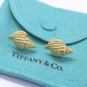Tiffany & Co 18Kt Tiffany Shells Yellow Gold Earri